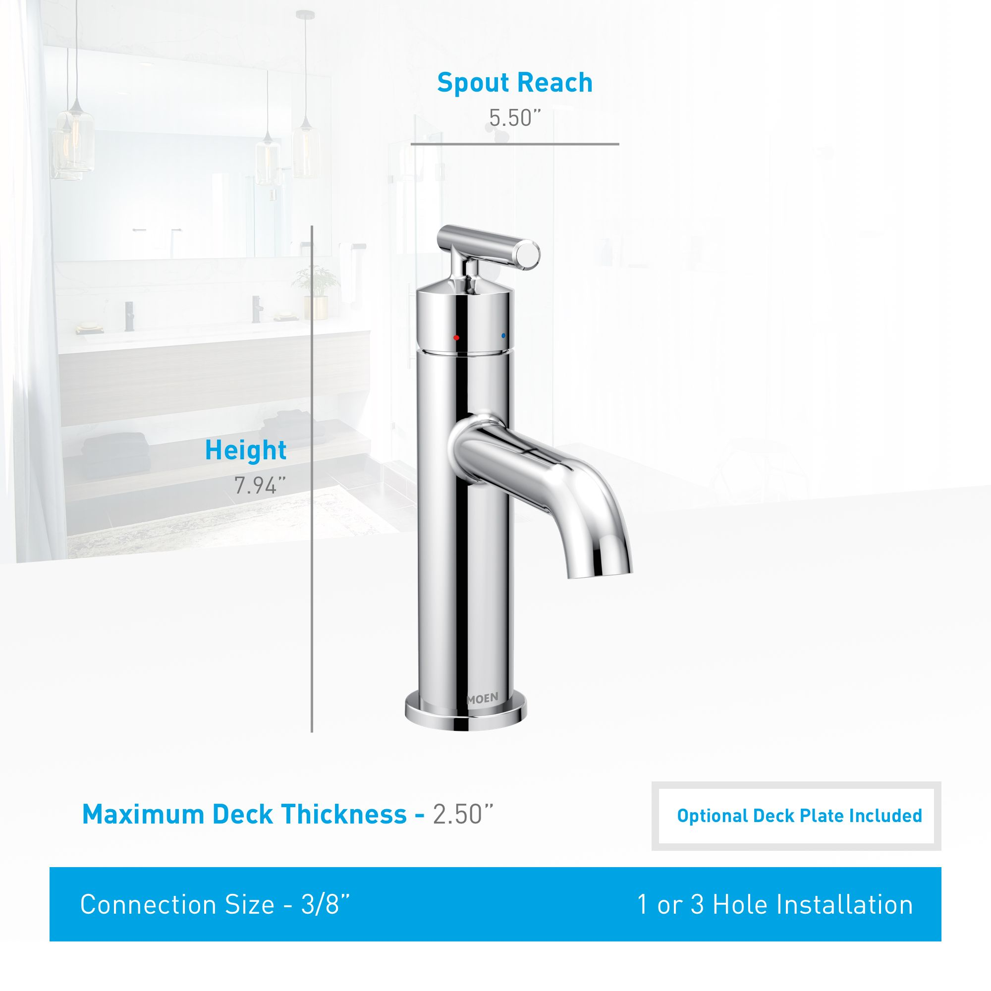 Moen 6145 Chrome Gibson 1 2 Gpm Single Hole Bathroom Sink Faucet With Pop Up Drain Assembly Bathroom Sink Faucets Single Hole Bathroom Sink Faucets Faucet Design [ 2000 x 2000 Pixel ]