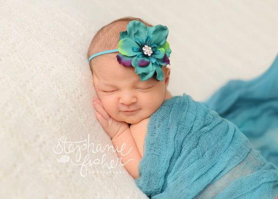 Soft Cheesecloth Wrap Swaddle Headband Baby Newborn Photography Prop In Green