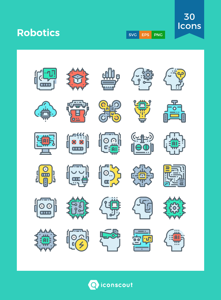 Robotics Icon Pack 30 Filled Outline Icons Science Technology
