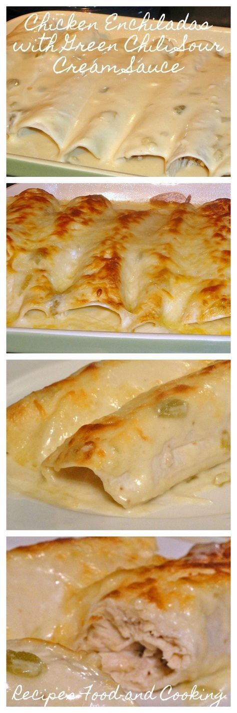 Chicken Enchiladas With Green Chili Sour Cream Sauce Recipes Food And Cooking Recipe Mexican Food Recipes Cream Sauce Recipes Recipes
