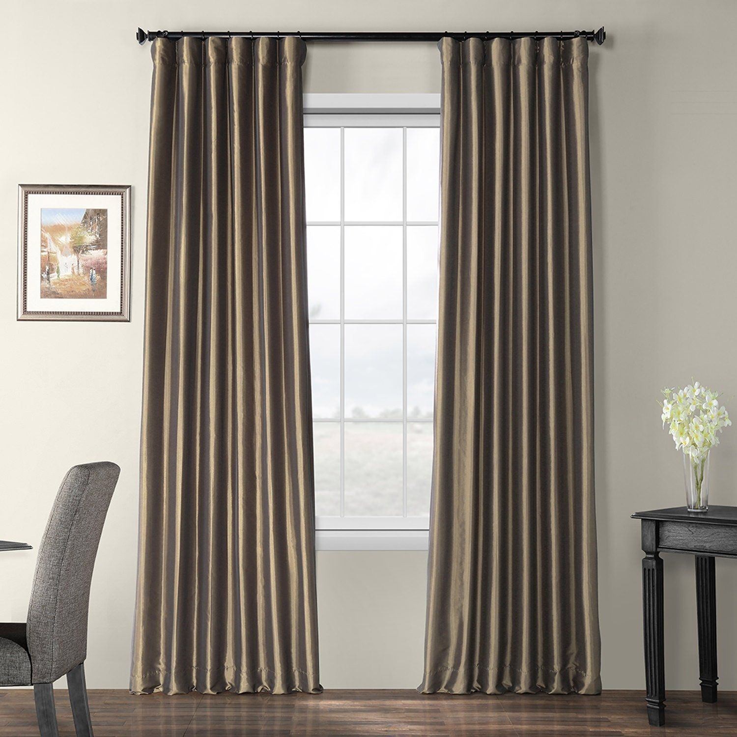 Exclusive Fabrics Faux Silk Taffeta 96 Inch Blackout Curtain Panel In Copper Brown As Is Item Copper Brown Panel Curtains Velvet Curtains Curtains