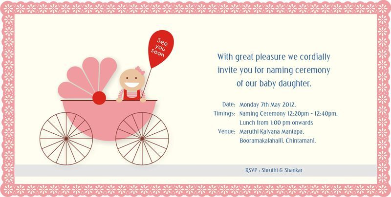 Nice Baby Naming Ceremony Invitation