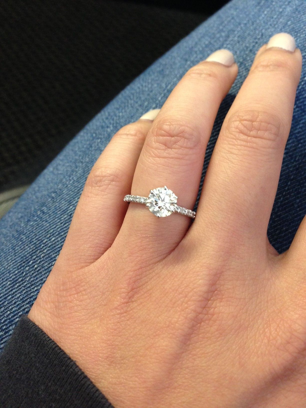 Close up of James allen french pave 123 carats on Size 6