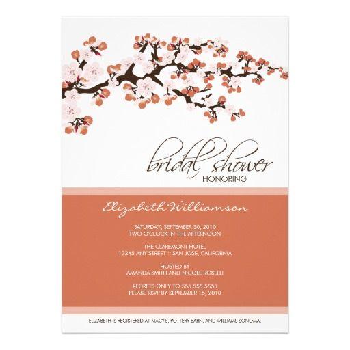 Cherry Blossom Bridal Shower Invitation (coral)