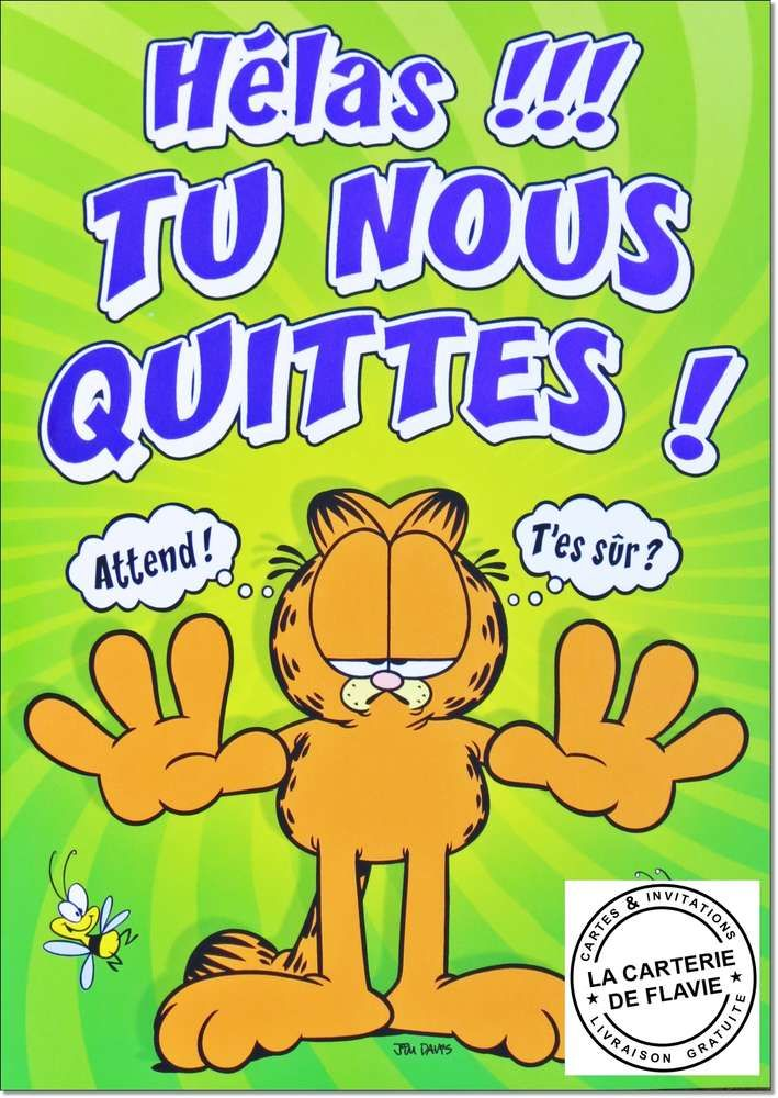 Carte Maxi Depart Garfield Carte Depart Carte Retraite Et