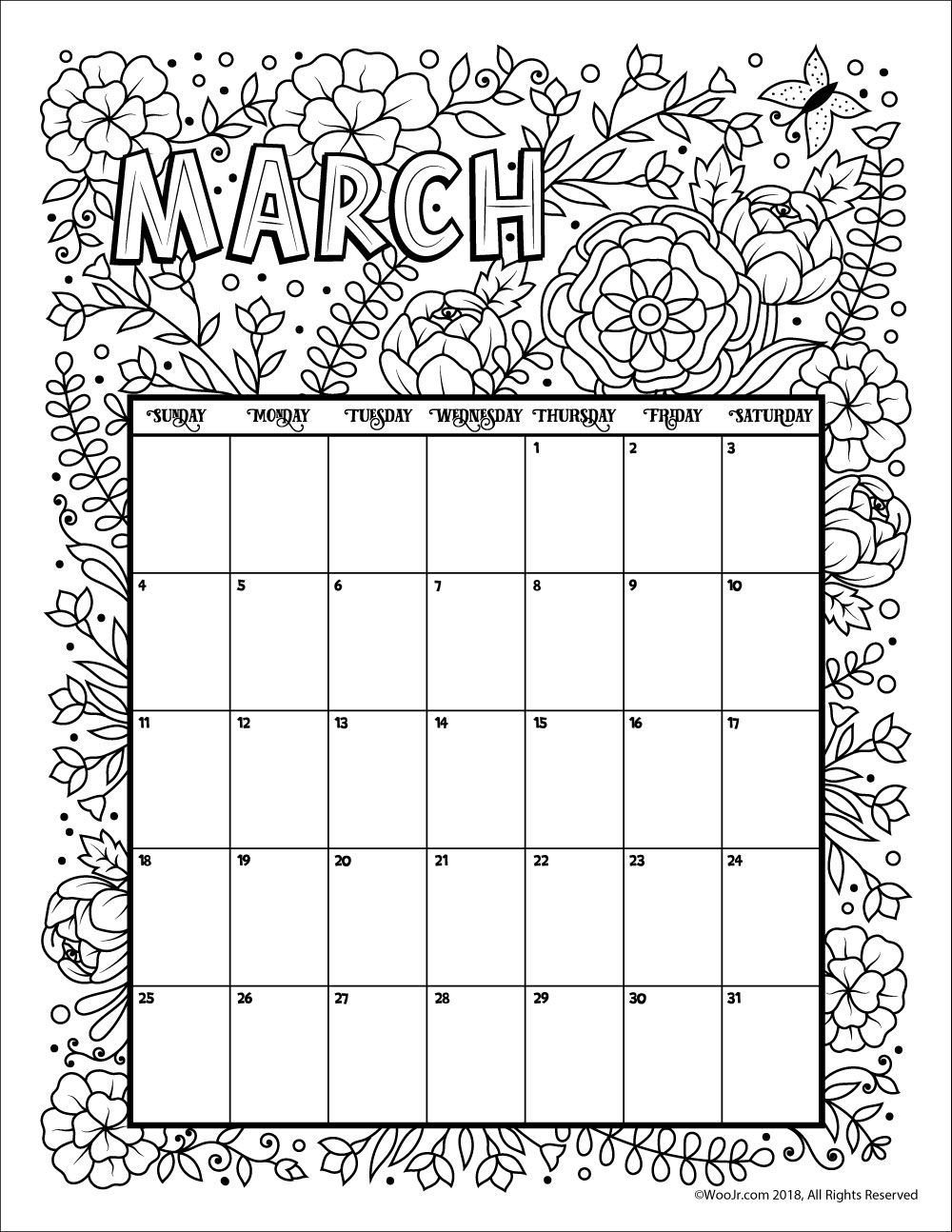 March 2018 coloring calendar page coloring pages for Free printable march coloring pages
