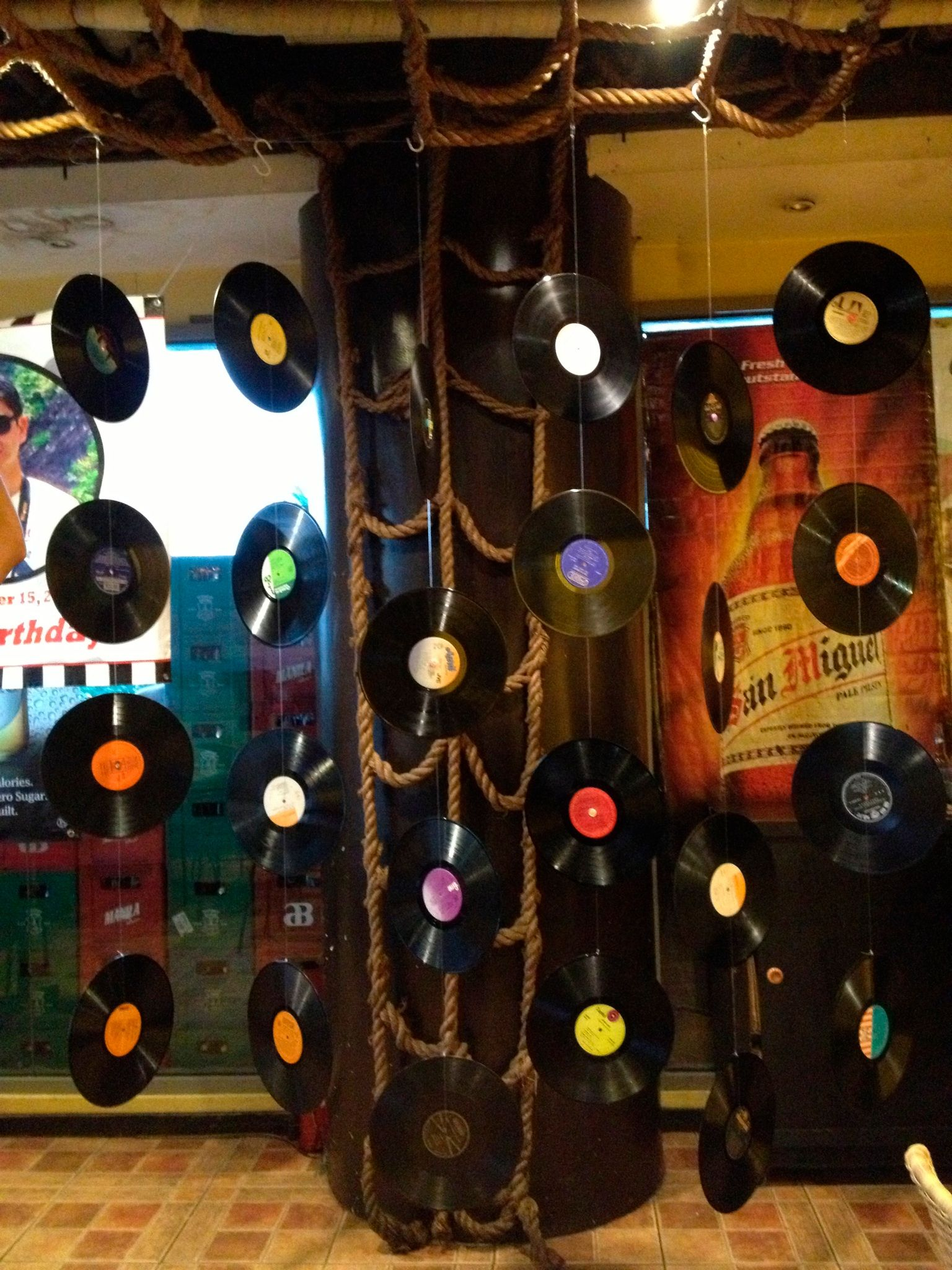 Old School Genuine Records For Backdrop 70s Retro Theme In