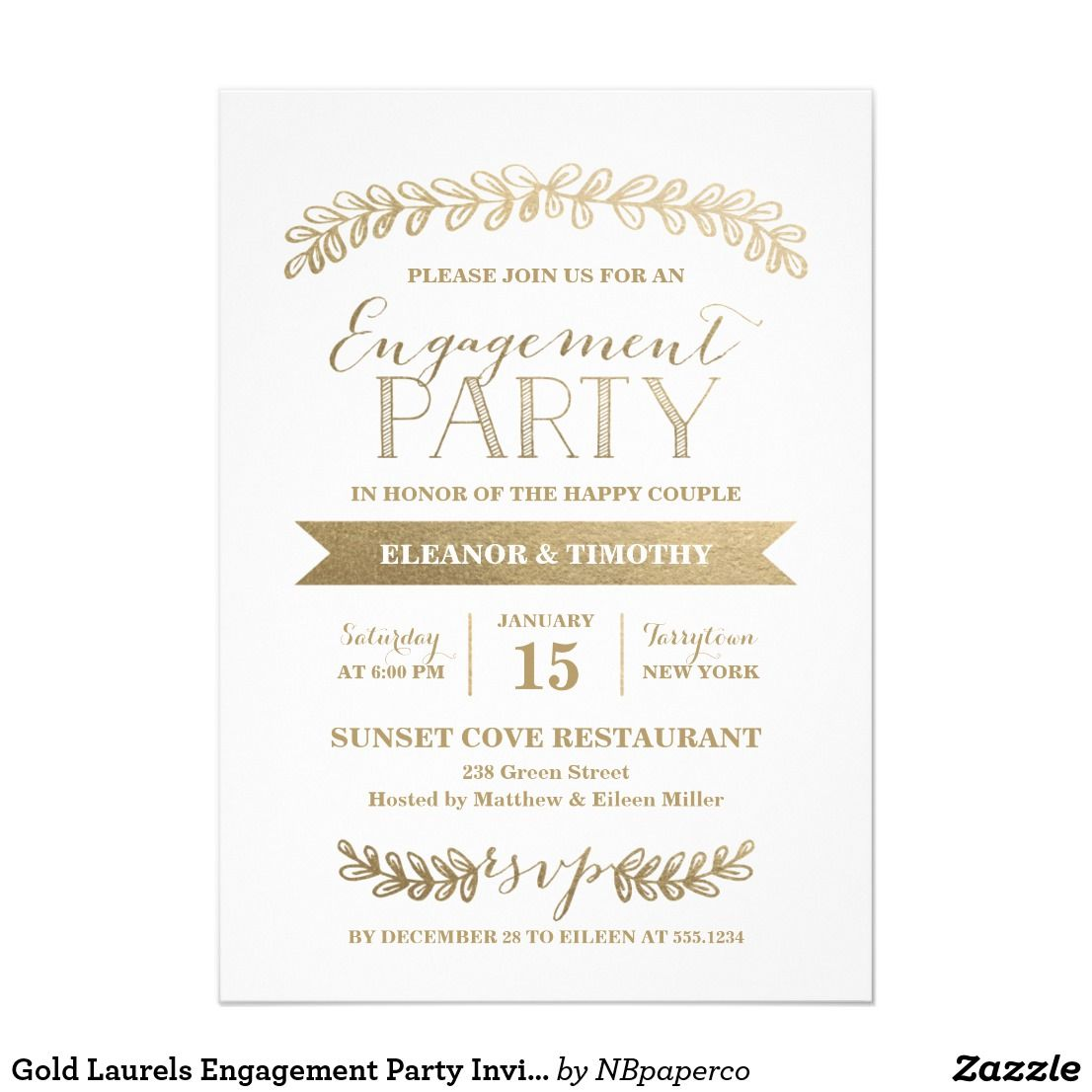Gold Laurels Engagement Party Invitation This elegant and chic ...