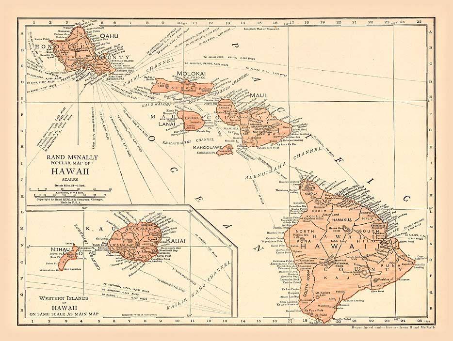 Hawaiian Islands Vintage Map Antique hawaiian map | Hawaii in 2019