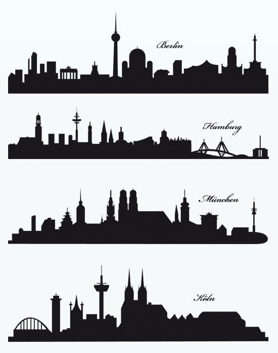 die skylines der deutschen st dte berlin hamburg m nchen und k ln plotter pinterest. Black Bedroom Furniture Sets. Home Design Ideas