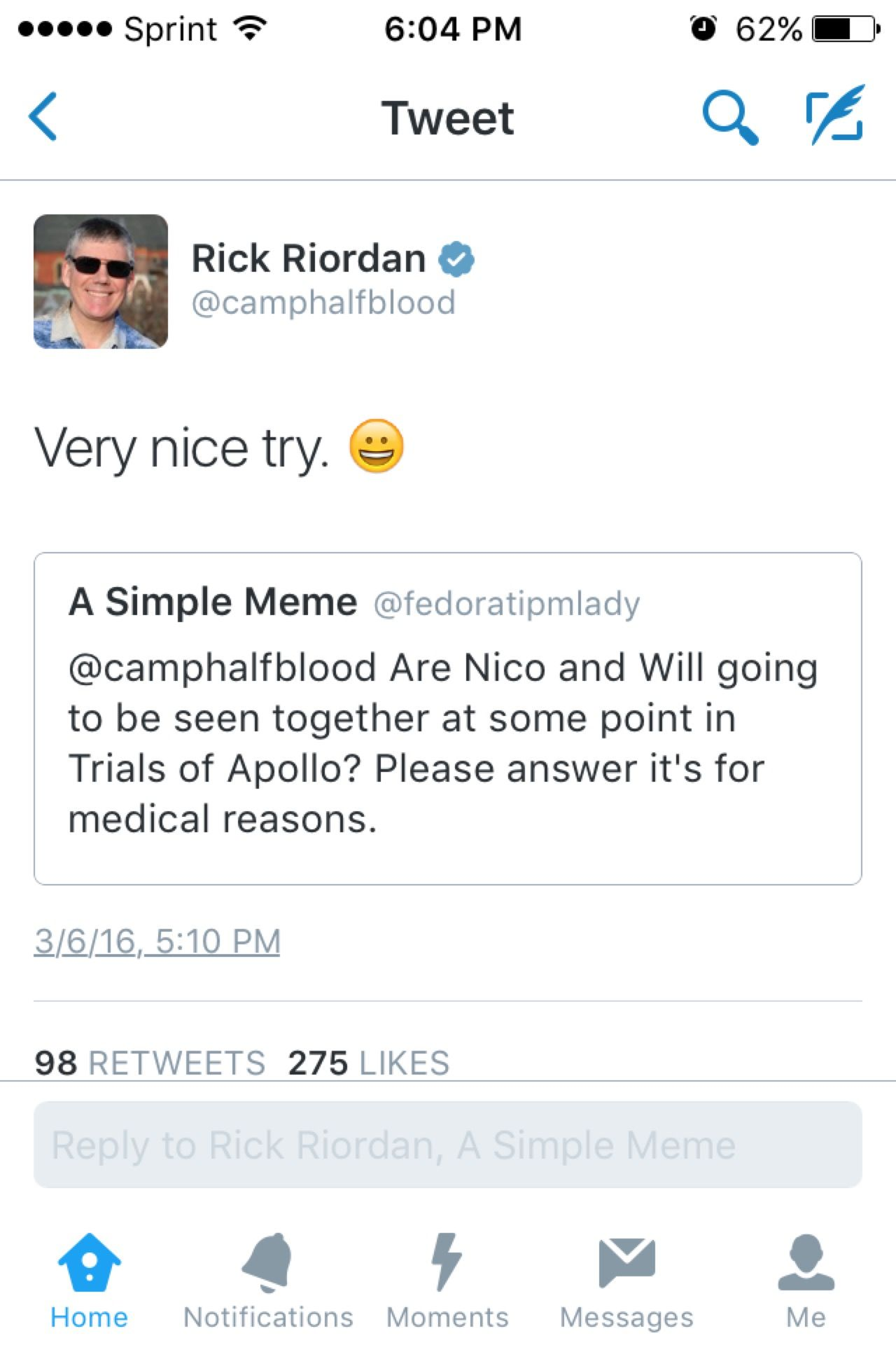 It's for medical reasons trials of Apollo