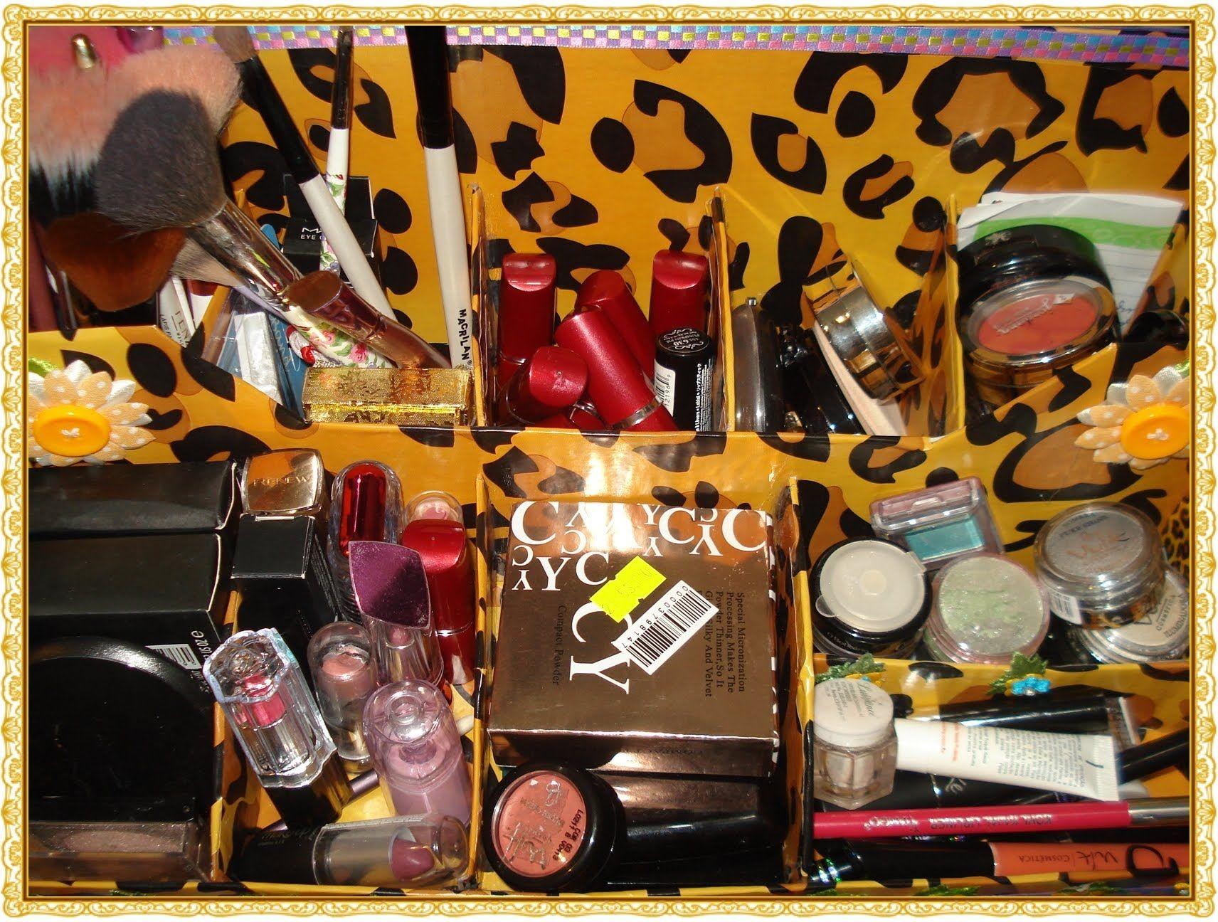 ✿Meu novo organizador de maquiagem, Reciclável de Onçinha!.✿