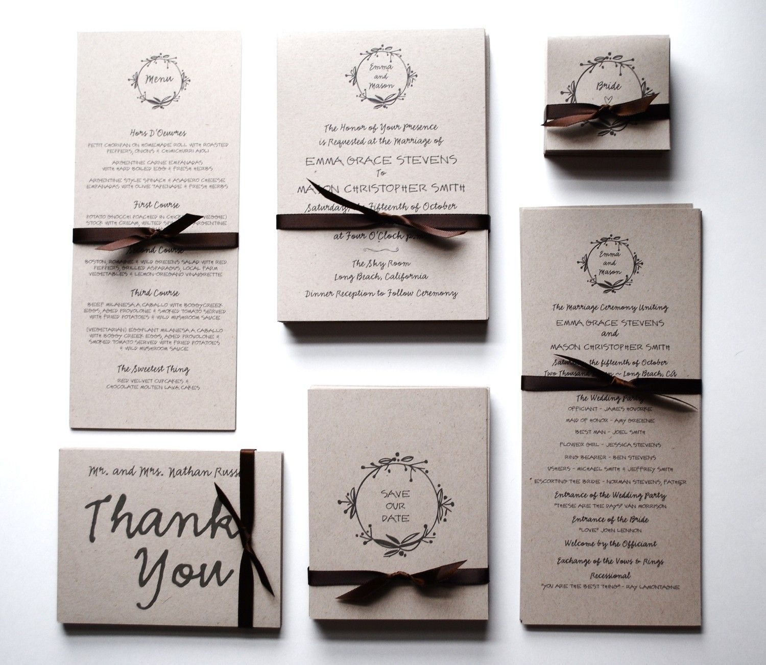 Wedding invitation sets and Weddings