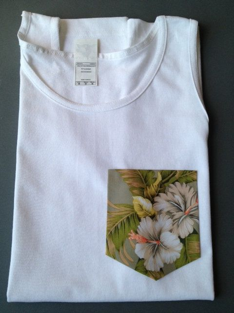 dea7832bb95 New Mens Tank Top with Custom Floral pattern Pocket by ARTssy ...