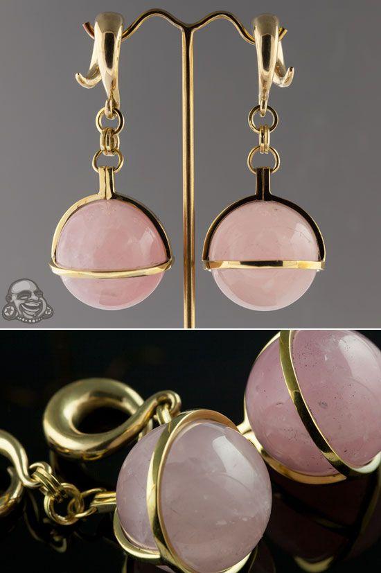 Solid Brass And Rose Quartz Globe Weights Body Jewellery Body Jewelry Amazing Jewelry