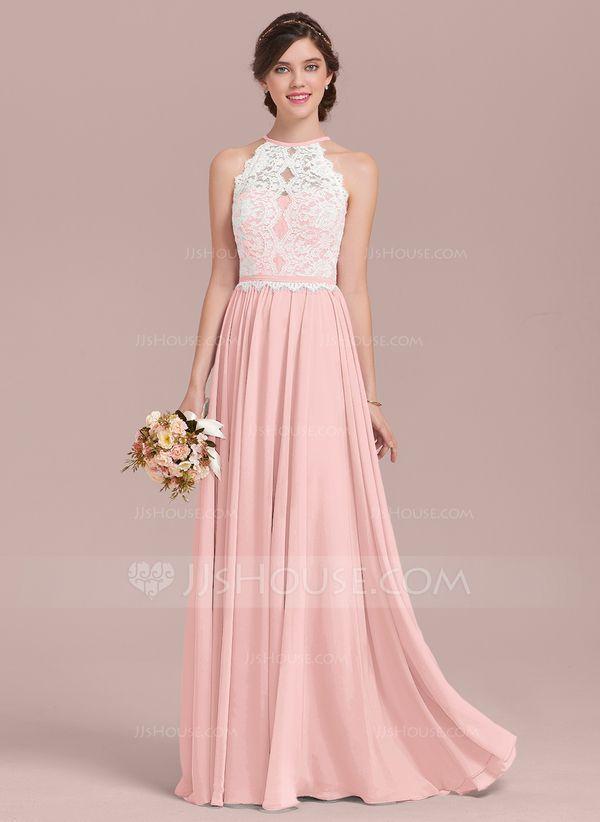 26274afd0ad1 A-Line Princess Scoop Neck Floor-Length Chiffon Lace Bridesmaid Dress