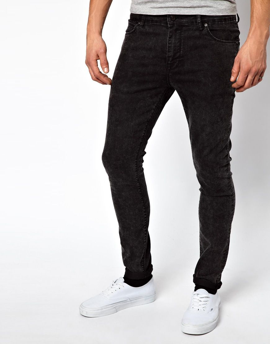 ASOS Super Skinny Jeans In Black Acid Wash at asos.com