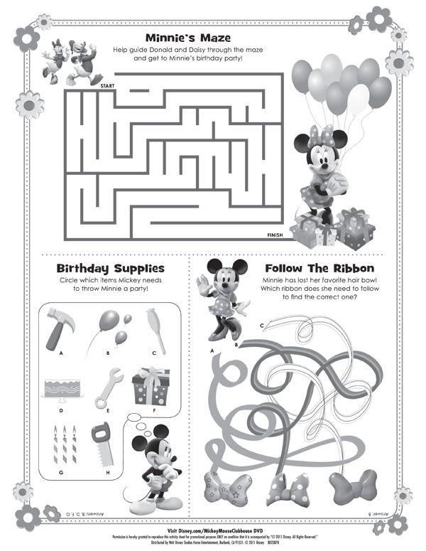 Downloadable Minnie Mouse Maze