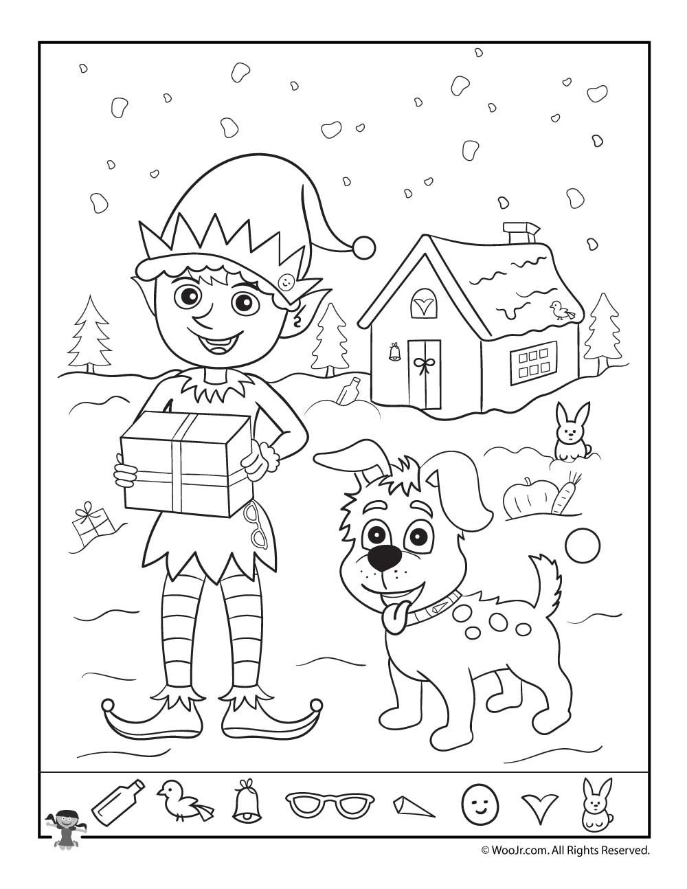 Santa S Helpers Christmas Hidden Picture Page Coloring Pages For