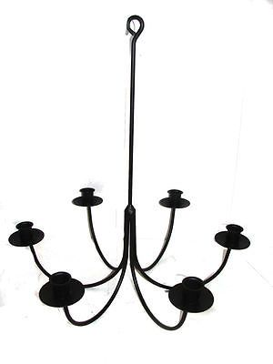 Details About Hand Forged Black Wrought Iron 6 Arm Candle