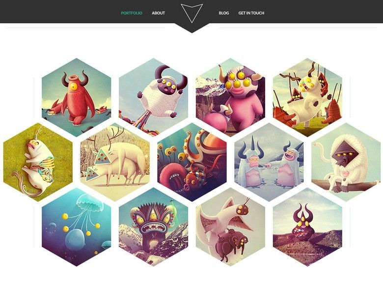 Free Hexagon Style Portfolio Website Template PSD | Website