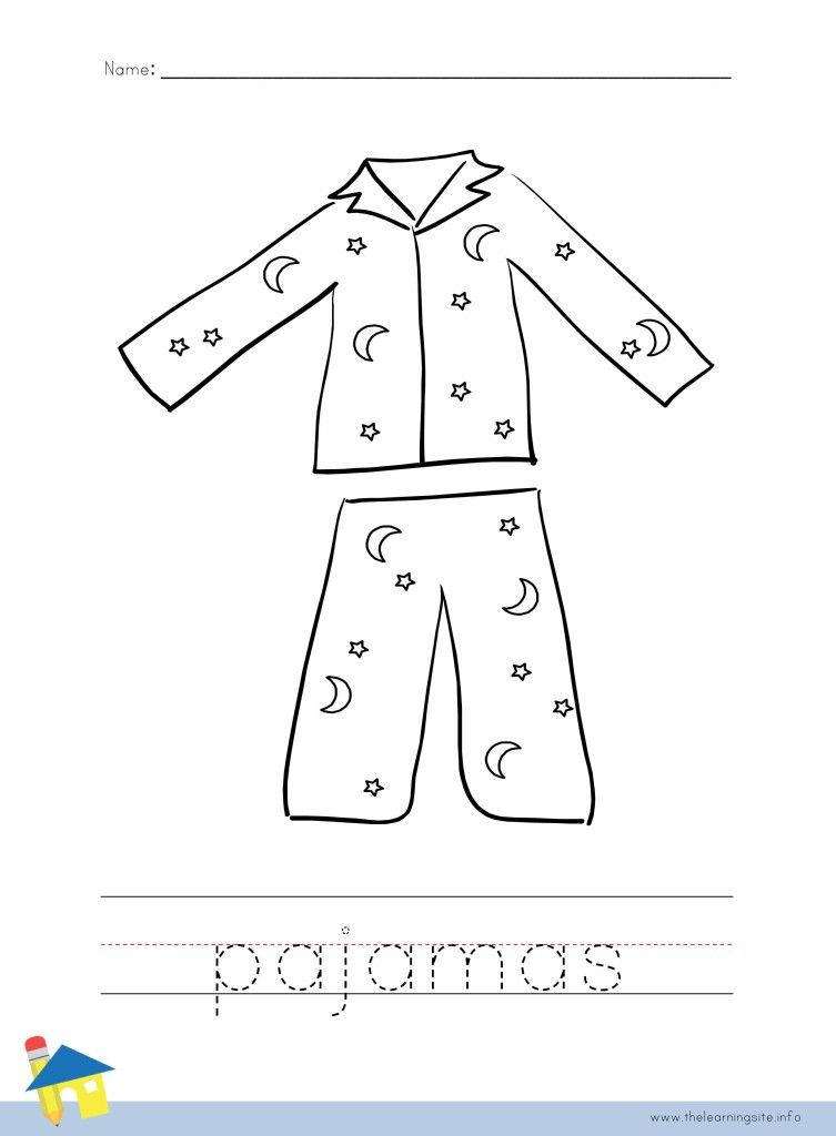 Pajamas Coloring Page Outline Pajama Day