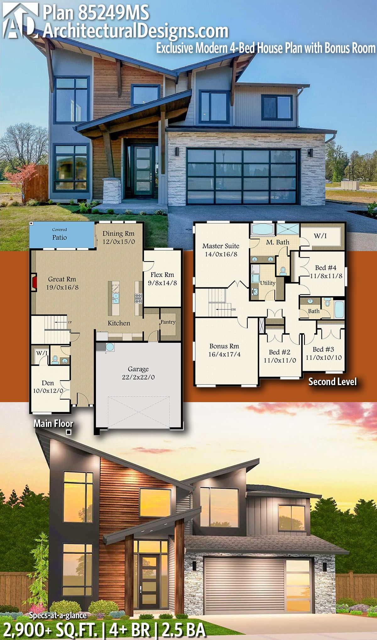 Architectural Designs Exclusive Modern House Plan 85249MS