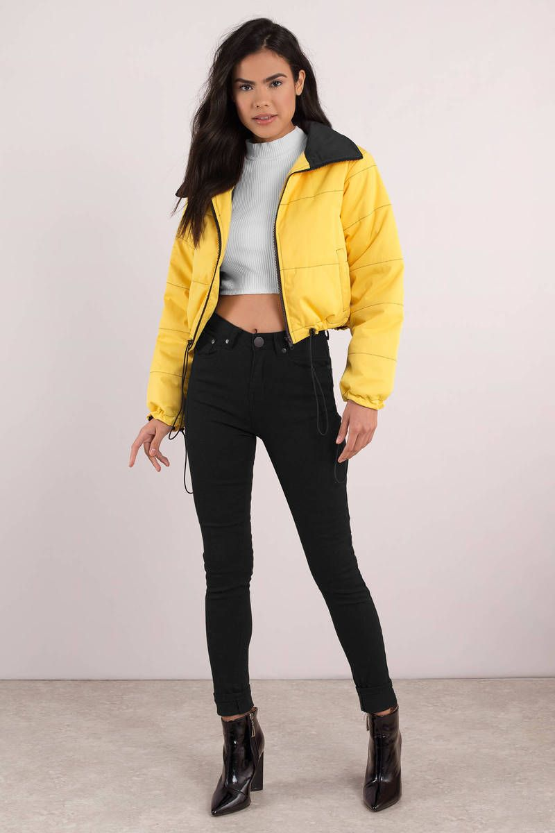 I Am Gia I Am Gia Road Warrior Yellow Crop Puffer Jacket Yellow Puffer Jacket Yellow Jacket Outfit Casual Winter Outfits