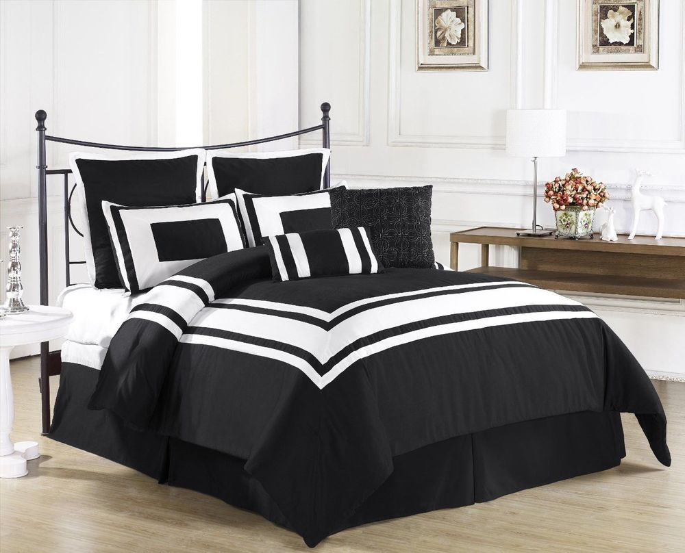 New Bed Bag Full Queen Cal King 8pc Black White Solid Stripe Hotel