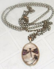 Antique Brass Dragonfly Glass Pendant.