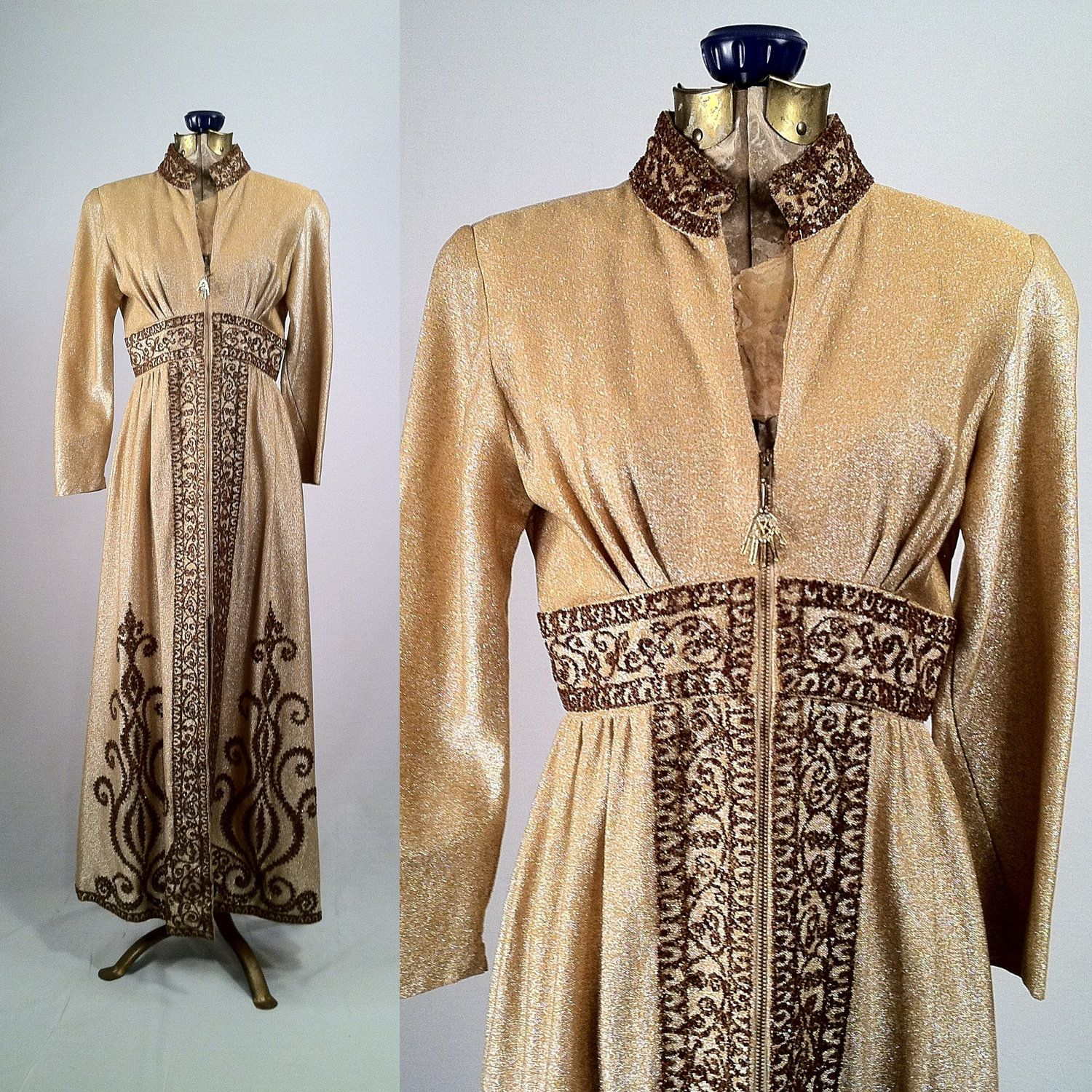 1960s Gold Lamé Encrusted Hostess Gown  Fitted Caftan by SLVintage, $105.00