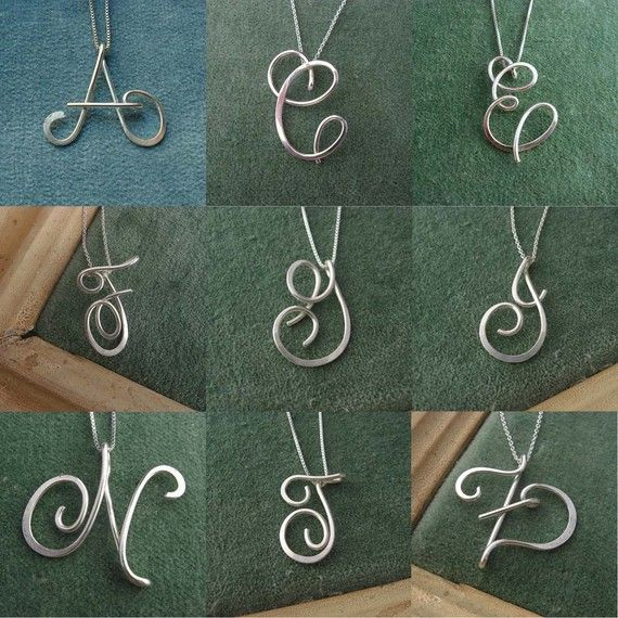 Large Calligraphy Initial Necklace in sterling silver, wedding ...