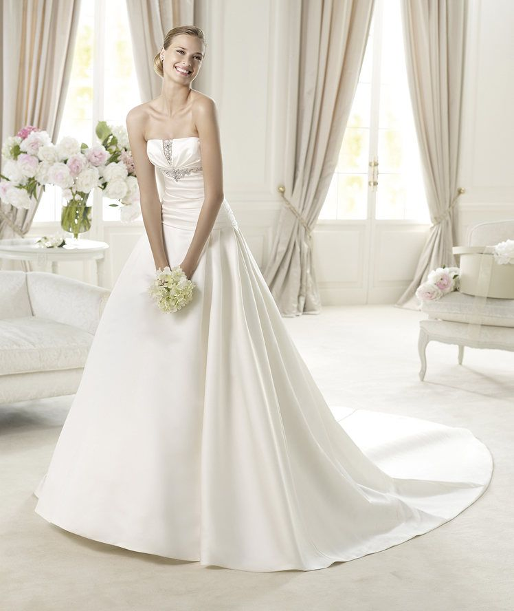 Simple A-line Strapless Beading Chapel Train Satin Wedding