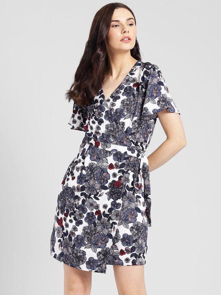 Rigo Floral Print Wrap Dress For Women Womens Dresses Clothes Printed Wrap Dresses [ 1024 x 768 Pixel ]