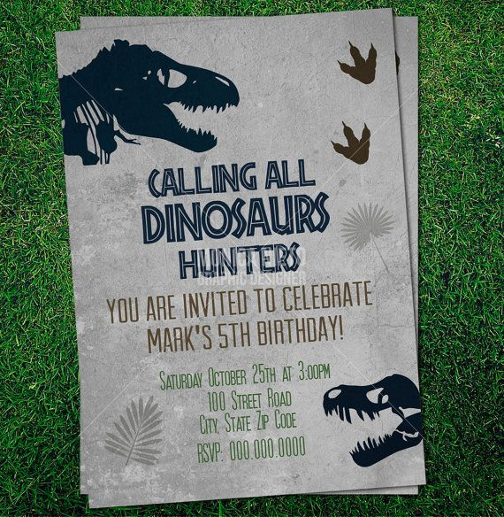 Custom Printable Jurassic Dinosaur Party Birthday Invitation Template