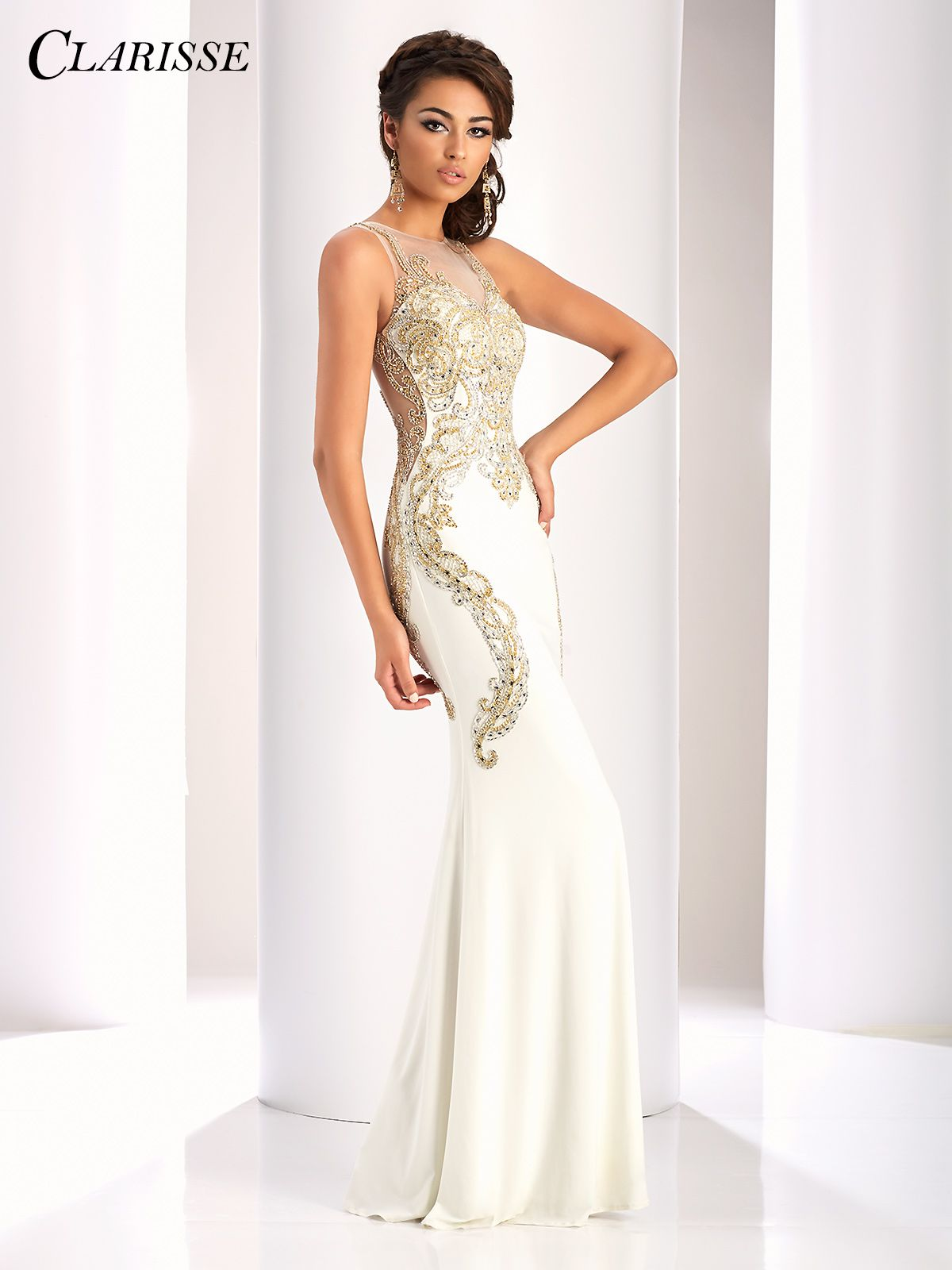d7eba522c4f Clarisse Ivory and Gold Prom Dress 4853. Elegant sparkly prom dress with a  tight fitted skirt