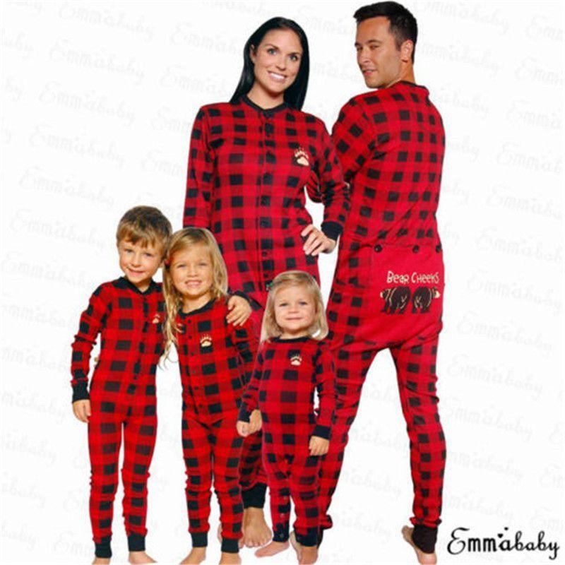 Christmas Family Matching Pajamas Set Adult Women Kids Bear Sleepwear Nightwear