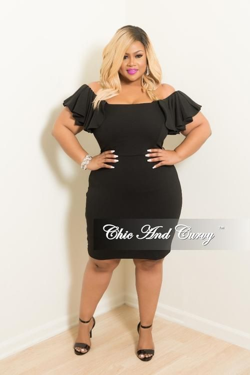 ca346b7fdd4 Final Sale Plus Size Ruffle Off the Shoulder BodyCon Dress in Black ...