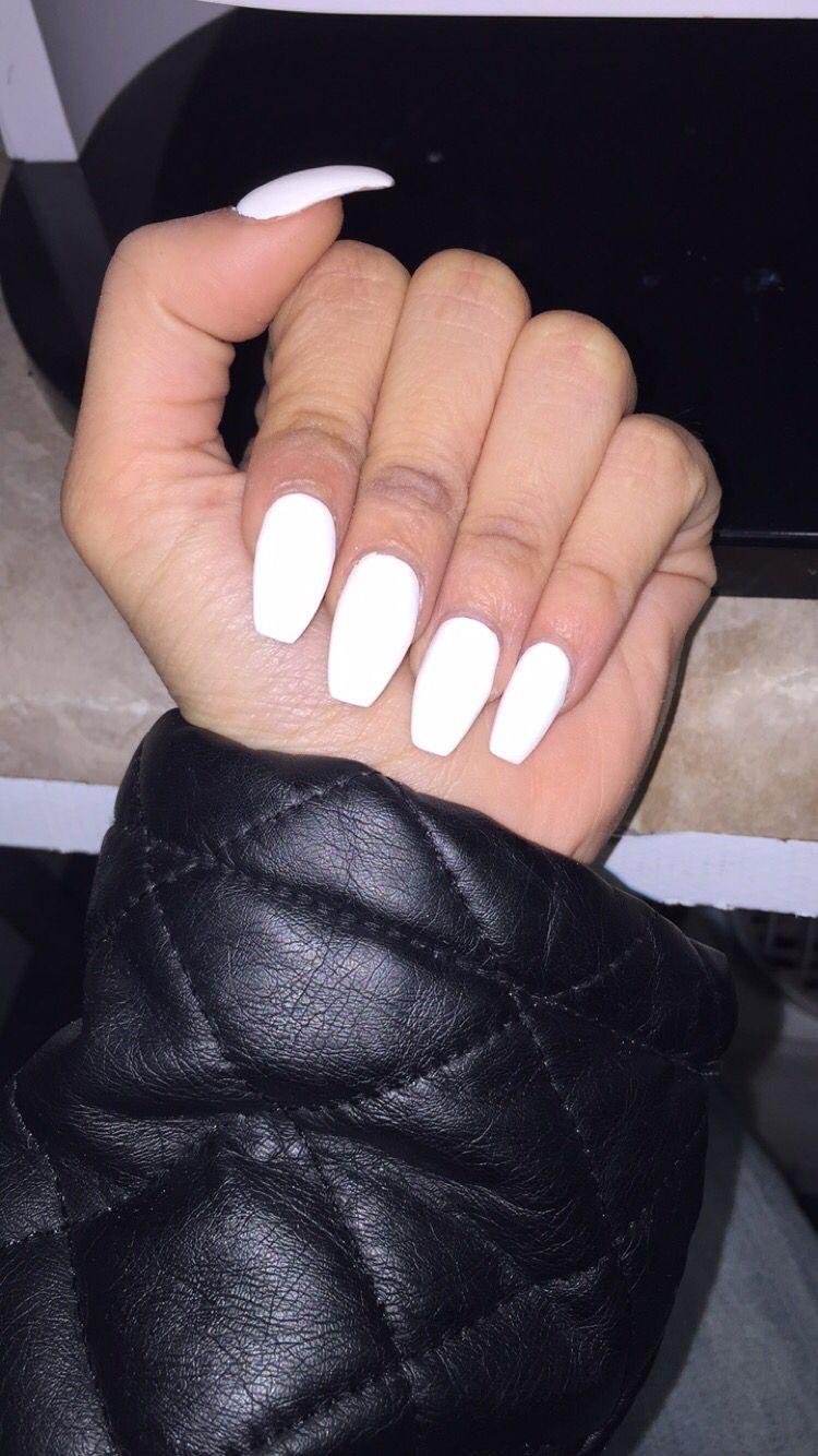 White #Matte Coffin Shape Acrylic #Nails | My Nails | Pinterest ...