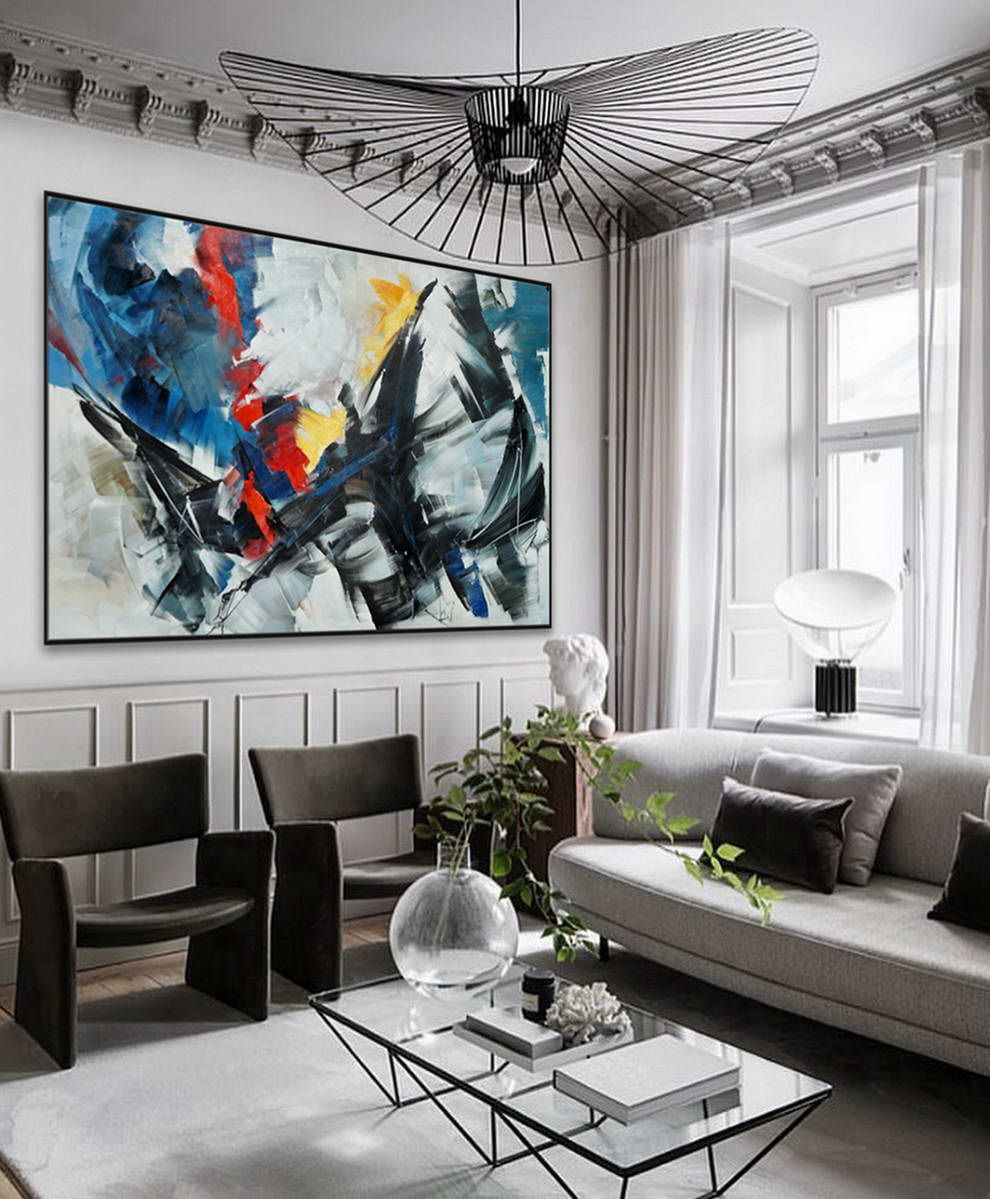 extra large horizontal modern contemporary abstract decor on wall paintings id=40740