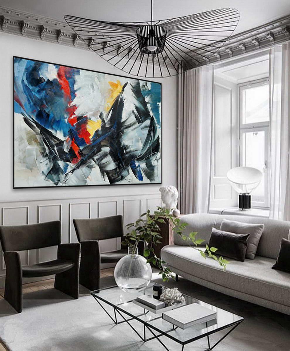 Extra large horizontal modern contemporary abstract decor