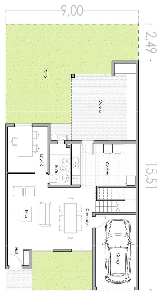 plano de casa moderna de 140 m2 con 3 dormitorios arq en