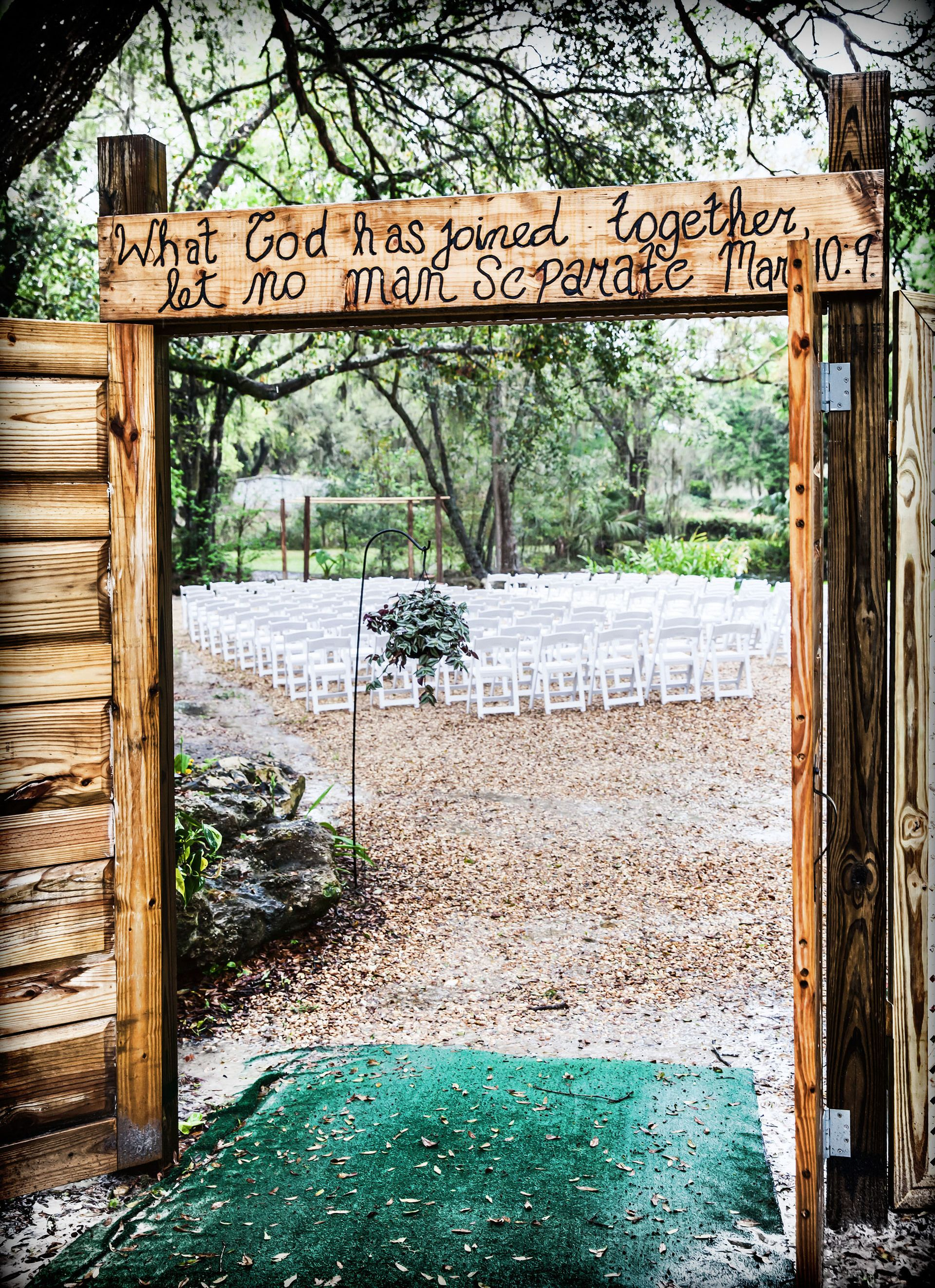 Wedding gate decoration ideas  Christian wedding bible quote ceremony entrance doors rustic
