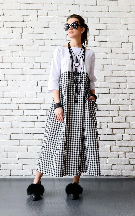8529120e1ee Plus Size Maxi Dress Long Loose Kaftan Black and White Oversize ...