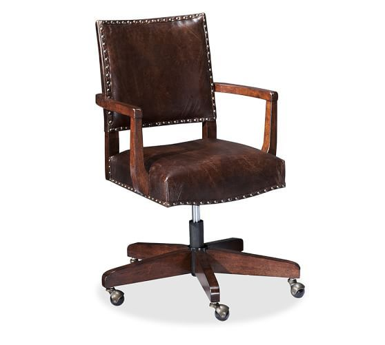 Manchester Swivel Desk Chair Espresso Stain Frame With Antique Dark Brown Leather Upholstery Swivel Chair Desk Desk Chair Most Comfortable Office Chair