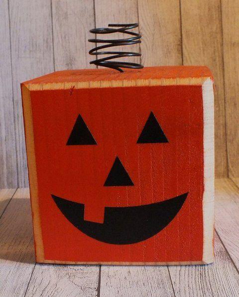 Pumpkin Wood Block Halloween Decor by SassyNanaDesigns on Etsy - halloween decor images