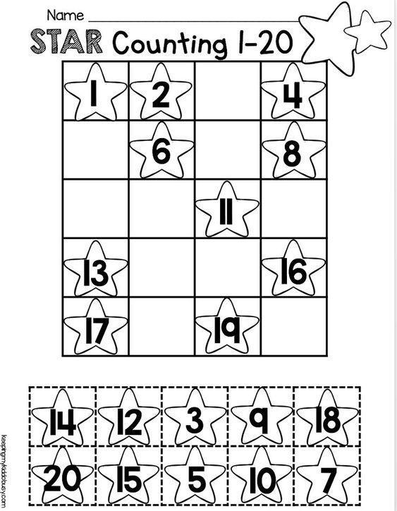 order numbers 1 20 worksheet easy no prep activity for kindergarten math counting and. Black Bedroom Furniture Sets. Home Design Ideas