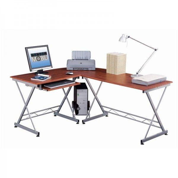Techni Mobili L Shape Computer Desk Mahogany | This Techni Mobili L Shaped  Computer Desk