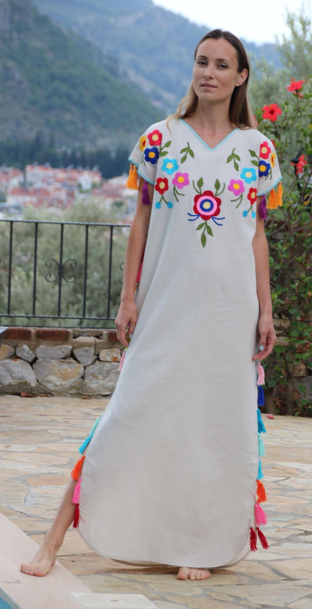 Multi floral tassels embroidered bohemian linen folk embroidery maxi
