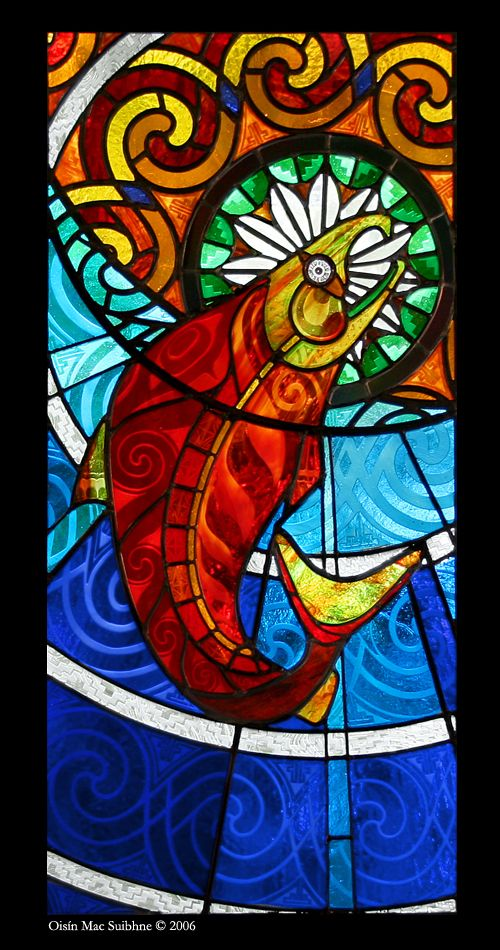 The Salmon Of Knowledge By Eininbhinn Stained Glass Art Mosaic